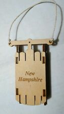 """2 Child's Sled Ornaments:Laser Cut, Engraved """"New Hampshire"""" &  FREE Coin Gifts!"""