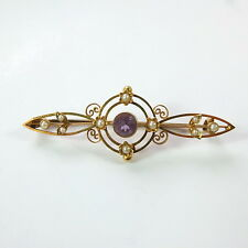 Beautiful Antique Victorian 15ct Gold Amethyst & Seed Pearl Brooch Marked 15ct