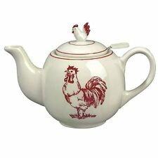 Sadek 7 Inch Tall Red Rooster Tea Pot with Strainer