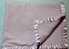 Carters Pink Satin Trim Embossed Butterfly & Flowers Baby Blanket