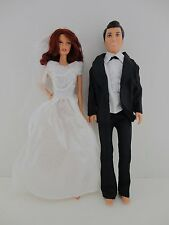 Set of 2 a White Princess Wedding Gown with Veil & a Black Tux for Ken