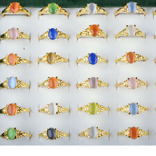 Wholesale Lots 10pcs Mixed Color Women Faux Gem Stone Gold Plated Rings Jewelry