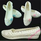 Womens New Round Toe Flats Hollow Out Rhinestone Floral Jelly Maternity Shoes Sz