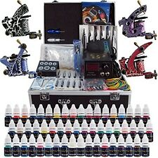 Solong Tattoo ® COMPLETE Tattoo Kit 4 PRO MITRAGLIATRICI 54 inchiostri alimentazione