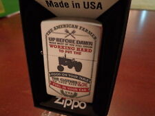 AMERICAN FARMER UP BEFORE DAWN FOOD ON TABLE FUEL IN CAR ZIPPO LIGHTER MINT