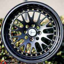 15X8 +25 AVID.1 WHEEL AV-12 4X100  BLACK FIT ACURA INTEGRA SCION XA XB IQ RIO