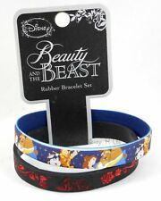 "New Disney Beauty & The Beast Belle 1/2"" Rubber Bracelet 2 Pack Wristband Set"