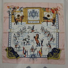"Auth HERMES ""Real Escuela Andaluza"" Pink Silk Scarf D308"