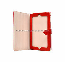 New iPad 2 3 & 4 Red Croc Print Luxury Real Genuine Leather Cover Case Stand