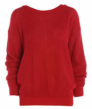 Ladies Womens Oversized Baggy Knitted Jumper Chunky Winter Sweater Plus Size -26