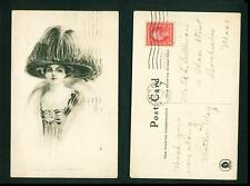 GLAMOUR – DRAWING OF LADY WITH HAT – TEMPLETON – USED 1909