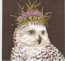 2 Serviettes en papier Chouette - Paper Napkins Owl Snow Queen