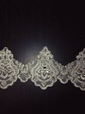 11cm wide Silver sequin beaded tuile lace bridal wedding dress prom trim net