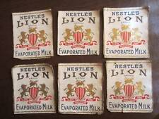 Lot of 6 Very Rare True Vintage LION MILK ( a Nestle Product ) Label coupons