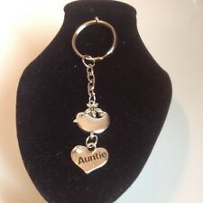 Auntie bird key ring silver plated