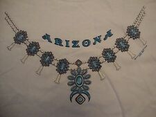 Arizona State Blue Necklace Souvenir White Cotton T Shirt Size L
