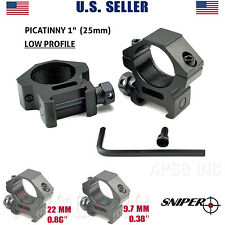 "Sniper 1"" Dia. LOW PROFILE Rifle Scope Rings Picatinny Mount System, US seller"