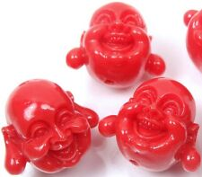 5  Orange Resin Coral Happy Buddha 3-D Beads 18mm