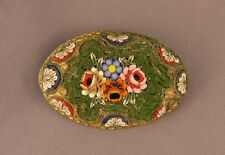Vintage 1920's Italian Micromosaic Floral Bouquet on Green Oval Brooch as is