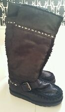 Nine West Ugg Black Long Studded Fur Buckle Faux Suede Boots UK 5 BNIB