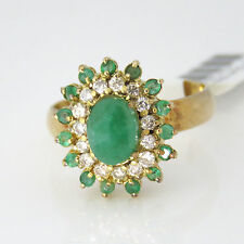 NYJEWEL 14k Solid Gold Brand New 2ct Emerald Diamond Cocktail Ring $1600