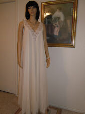 LUCIE ANN vintage Nylon 1960s Nightgown CREAMSICLE IVORY & LACE size L large