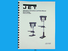 Jet JDP-15M/MF Drill Press Operator & Parts List  Manual   *234