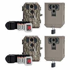 Stealth Cam P18CMO 7MP IR Game Trail Camera w/ SD Card (2 Pack) + Security Boxes