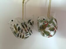 Gisela Graham Set of 2 Glass Bird Christmas Decorations Holly Mistletoe