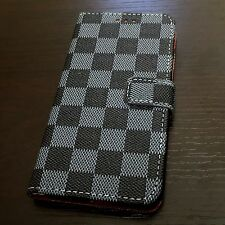 For iPhone 7+ PLUS -Navy Blue Black Checkered Card Wallet Diary Pouch Case Cover