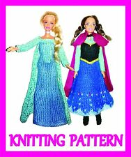 "2 KNITTING PATTERNS FOR BARBIE, DISNEY PRINCESS, 12"" DOLL: ELSA AND ANNA: FROZEN"