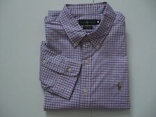 POLO RALPH LAUREN Men's Slim-Fit Pink/Royal Gingham Stretch Oxford Shirt XXL