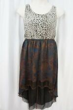 Teen Vogue for MStyleLab Juniors Dress Sz XL Brown Multi Chiffon Hi Lo Casual