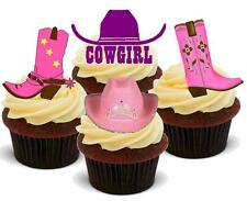 COWGIRL MIX 12 STAND UP Edible Cake Toppers Premium Stand Up Boots Wild West