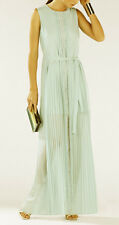 "$398 BCBG AQUA MIST ""ADRIENA"" PLEATED LACE LONG GOWN DRESS (no tie) NWOT XS"