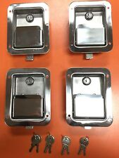 4 STAINLESS STEEL PADDLE LATCH & KEY FOR Tool Box Door L3885