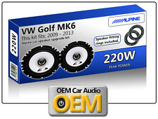 VW Golf MK6 Rear Door speakers Alpine car speaker kit with Adapter Pods 220W