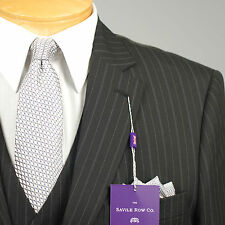 44L Suit SAVILE ROW 3 Piece Black Striped Mens Suits 44 Long - A44