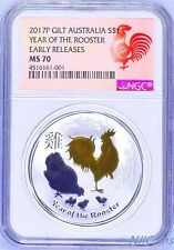 2017 P Australia GILDED Silver Lunar Year of Rooster NGC MS 70 1 oz Coin w/OGP