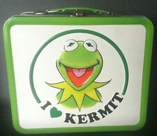 "Collectible    I LOVE KERMIT    Metal Lunchbox  Muppets Kermit the Frog 8""x7""x4"""