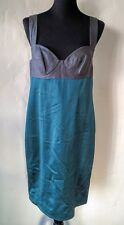 PORTS 1961 SILK WOOL Runway Draped Silver Gray Sea Green Jewel Dress Pockets 10