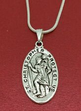 St CHRISTOPHER Necklace Medal Charm Pendant and Chain TRAVEL Saint