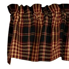 New Primitive Country Burgundy Wine Black Tan VILLAGE PLAID VALANCE Curtain