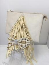 Ladies Cream Hobo Tassel Twin Side Clutch Bag Girls Purse Cross Body Bag '28790'