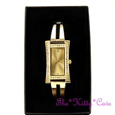 Gold Plated Designer Classic Bars Bracelet Dress Watch w Swarovski Crystal Bling