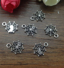 Wholesale 16pcs Tibet silver Spider web Charm Pendant beaded Jewelry Findings