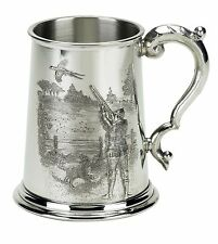 Pewter 1 pint tankard with a game shooting scene - pheasant partridge 12ga VP90