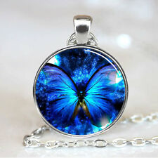 Blue Glowing Butterfly Photo Tibet silver  Cabochon glass pendant chain Necklace