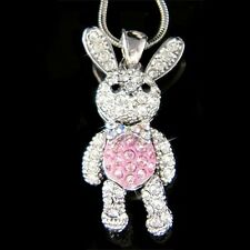 w Swarovski Crystal Pink Movable Girls Bunny Hase Easter Rabbit Pendant Necklace