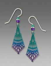 Adajio Earrings Deep Green & Violet 'Persian' Detail Drop Handmade in USA